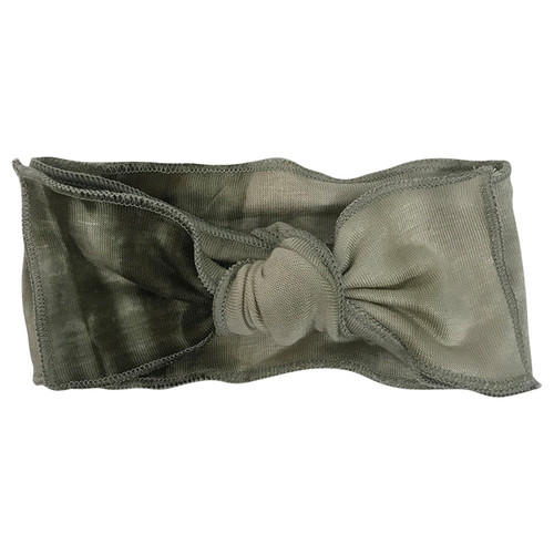 Jersey Knot Bow, Olive Green Tie Dye