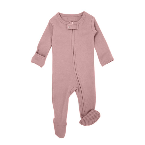 Organic Zipper Footed Romper, Mauve