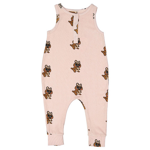 Terry Long Leg Romper, Brown Canguro