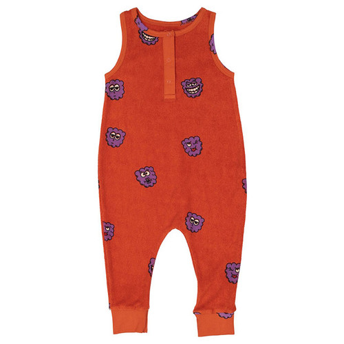 Terry Long Leg Romper, Purple Raspberries