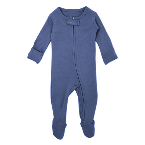 Organic Zipper Footed Romper, Slate