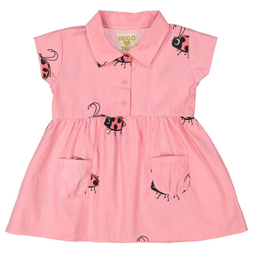 Collared Pocket Dress, Pink Ladybug