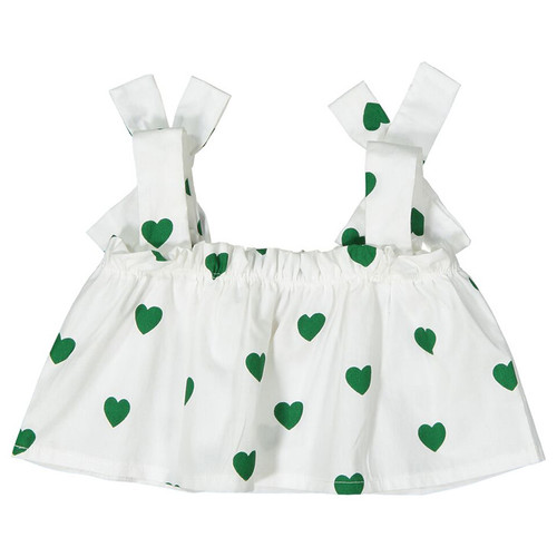 Flutter Top, Green Hearts