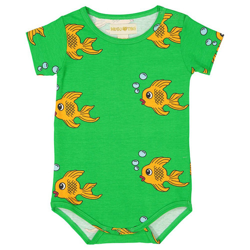 Short Sleeve Bodysuit, Green Fish