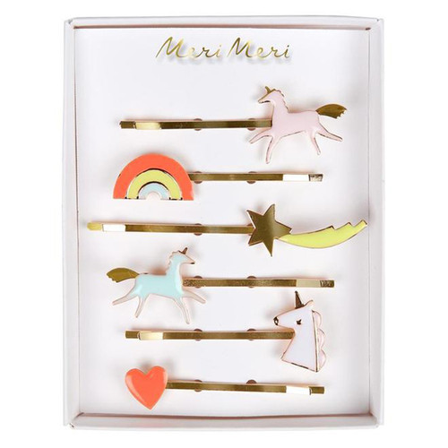 Enamel Hair Slides, Unicorn