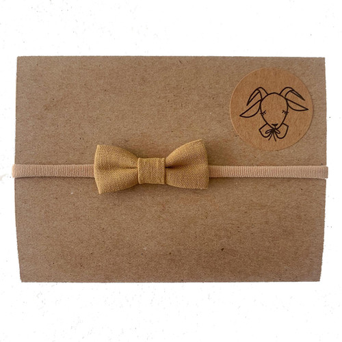 Nylon Headband Mini Linen Bow, Ochre