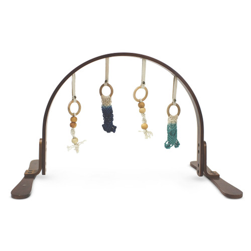 Macrame Navy/Teal Ombre Play Gym, Dark Wood