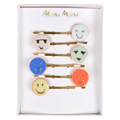 Enamel Hair Slides, Emoji