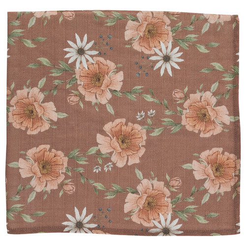 Muslin Swaddle, Clay Peony Blooms