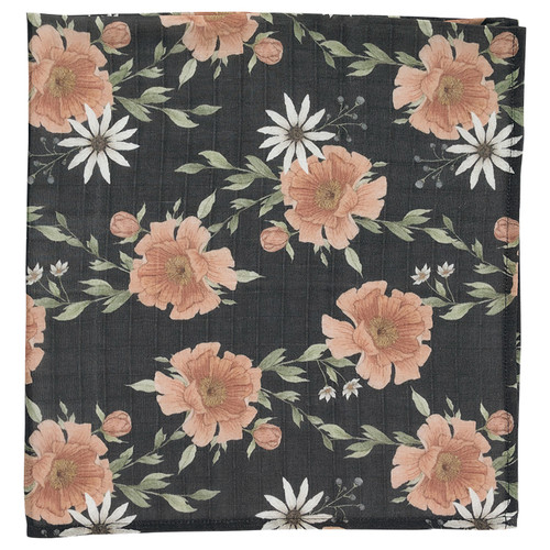 Muslin Swaddle, Charcoal Peony Blooms