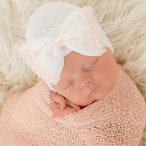 Newborn Bow Hat, White/Pink Lace & Pearls