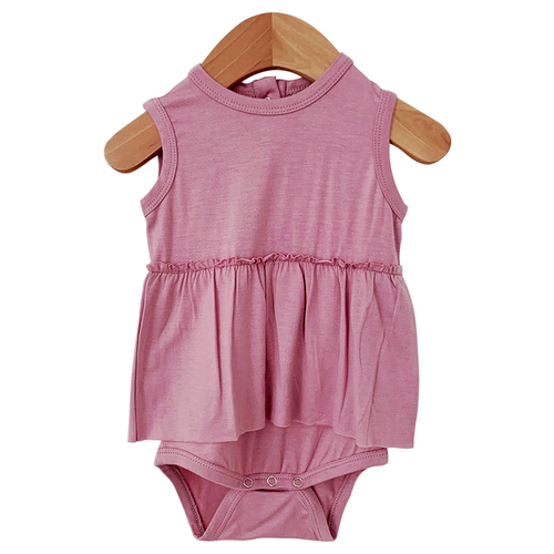 Sleeveless Skirted Bodysuit, Mauve Lilac