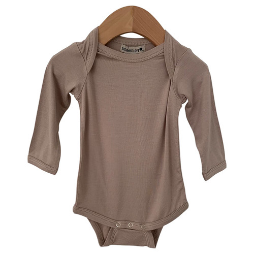 Long Sleeve Bodysuit, Clay