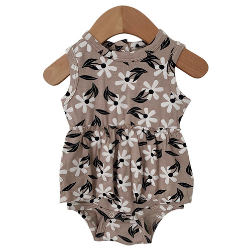 Sleeveless Skirted Bodysuit, Clay Floral