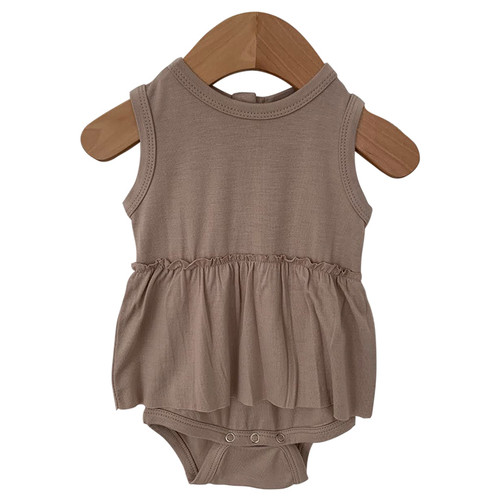 Sleeveless Skirted Bodysuit, Clay
