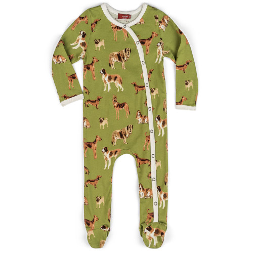 Green Dogs Footed Romper