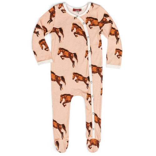 Pink Horse Footed Romper
