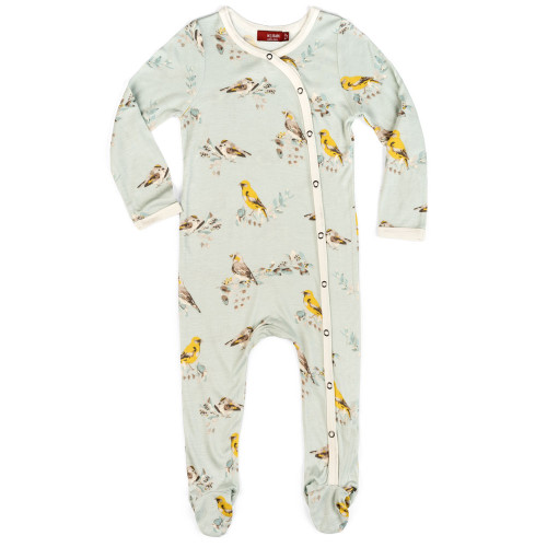 Blue Bird Bamboo Footed Romper