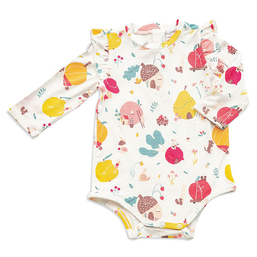 Long Sleeve Ruffle Bodysuit, Fruit Homes