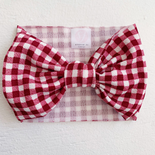 Headwrap Bow, Red Gingham