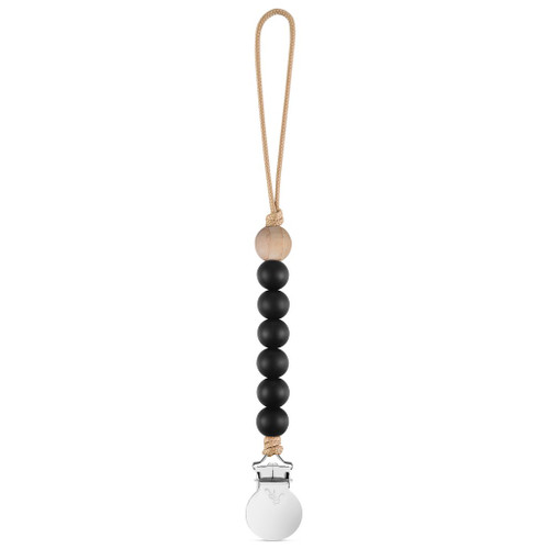 Charley Cutie Pacifier Clip, Black