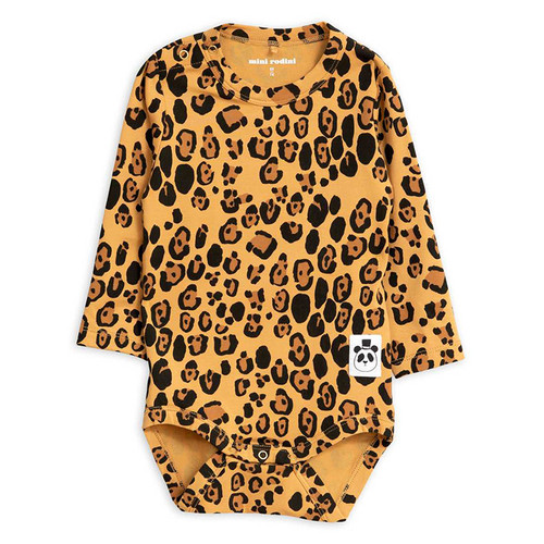 Mini Rodini Basic Long Sleeve Bodysuit, Leopard