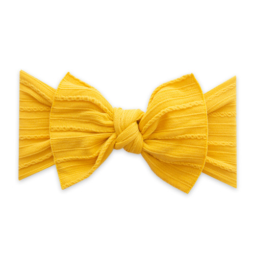 Cable Knit Knot Bow, Mustard