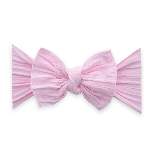 Cable Knit Knot Bow, Pink