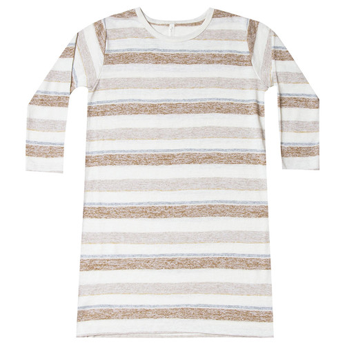 Rylee & Cru Striped T-Shirt Dress, Caramel