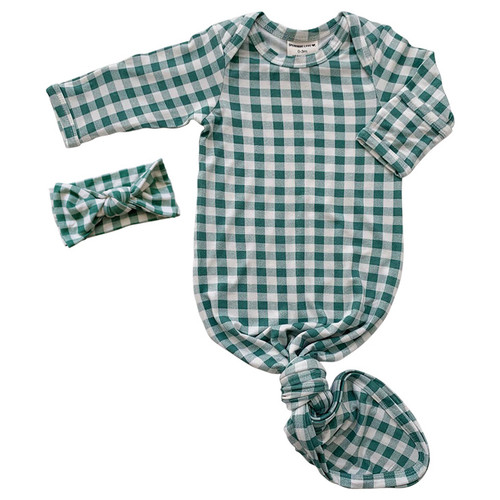 Knotted Gown & Bow Set, Sea Green Gingham