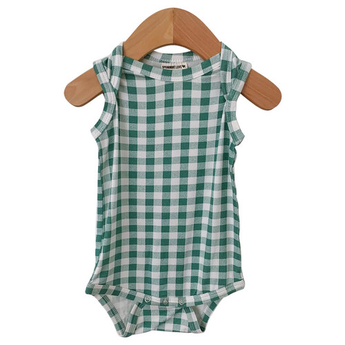 Sleeveless Bodysuit, Sea Green Gingham