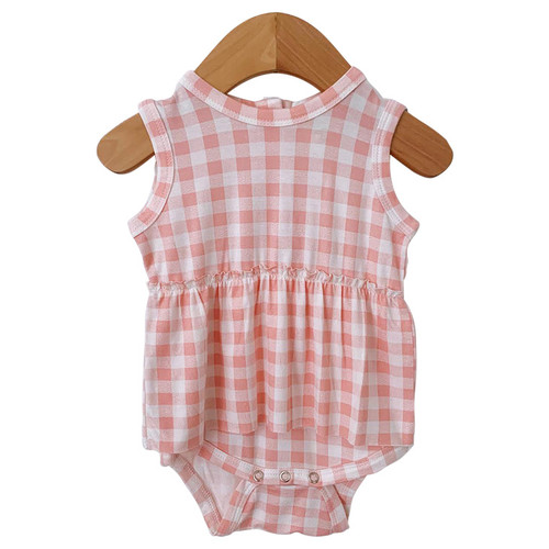 Sleeveless Skirted Bodysuit, Pink Gingham