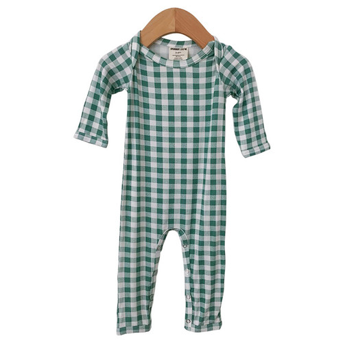 Long Sleeve Romper, Sea Green Gingham