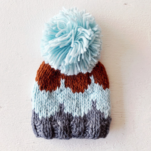 Scallop Pom Hat, Blue