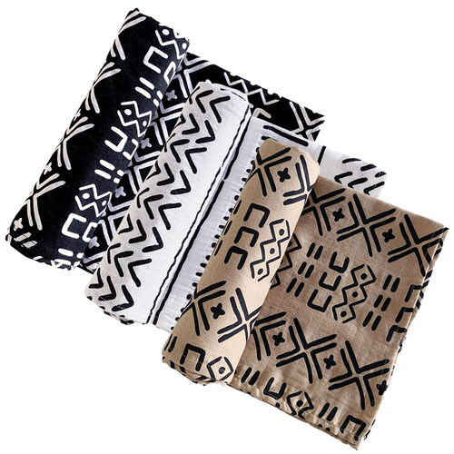 Muslin Swaddle 3-Pack: Black, White, & Almond Mudcloth