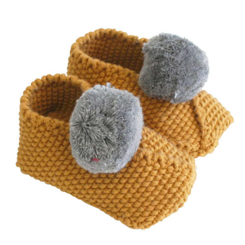 Baby Pom Booties, Butterscotch/Grey