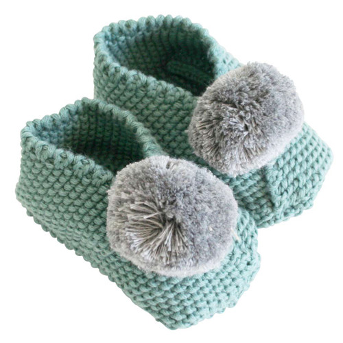 Baby Pom Booties, Sage/Grey