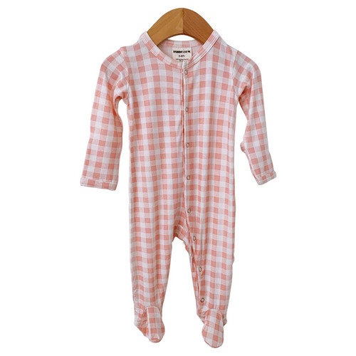 Basic Snap Footie, Pink Gingham
