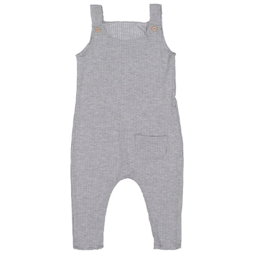 Ribbed Overalls, Heather Grey