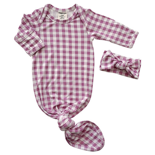 Knotted Gown & Bow Set, Lavender Gingham