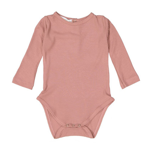 Ribbed Long Sleeve Bodysuit, Rose Pink