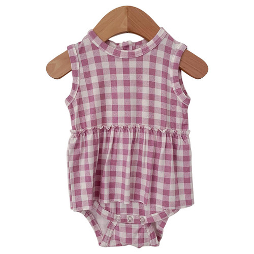 Sleeveless Skirted Bodysuit, Lavender Gingham