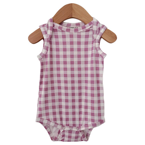 Sleeveless Bodysuit, Lavender Gingham