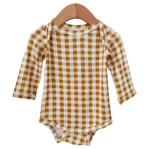 Long Sleeve Bodysuit, Ochre Gingham