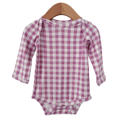Long Sleeve Bodysuit, Lavender Gingham