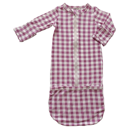 Convertible Zip Gown, Lavender Gingham