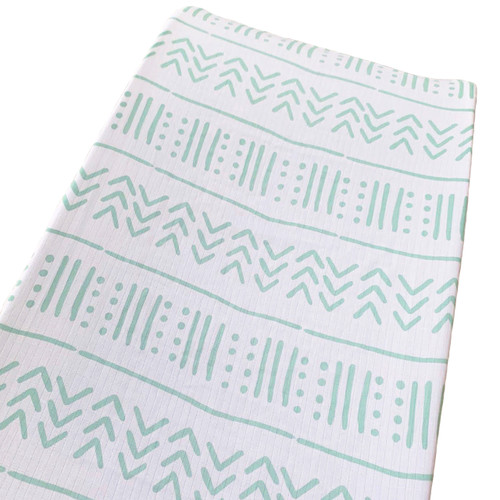Muslin Changing Pad Cover, Seafoam Mudcloth