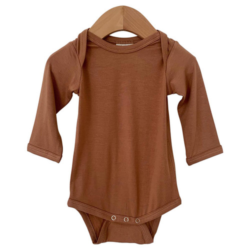 Long Sleeve Bodysuit, Caramel