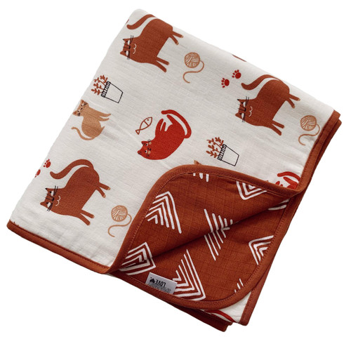 Reversible Muslin Quilt, Cats/Rust Mudcloth