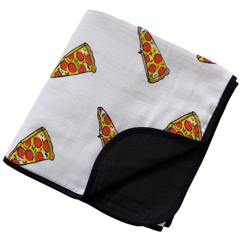 Reversible Muslin Quilt, Pizza/Black